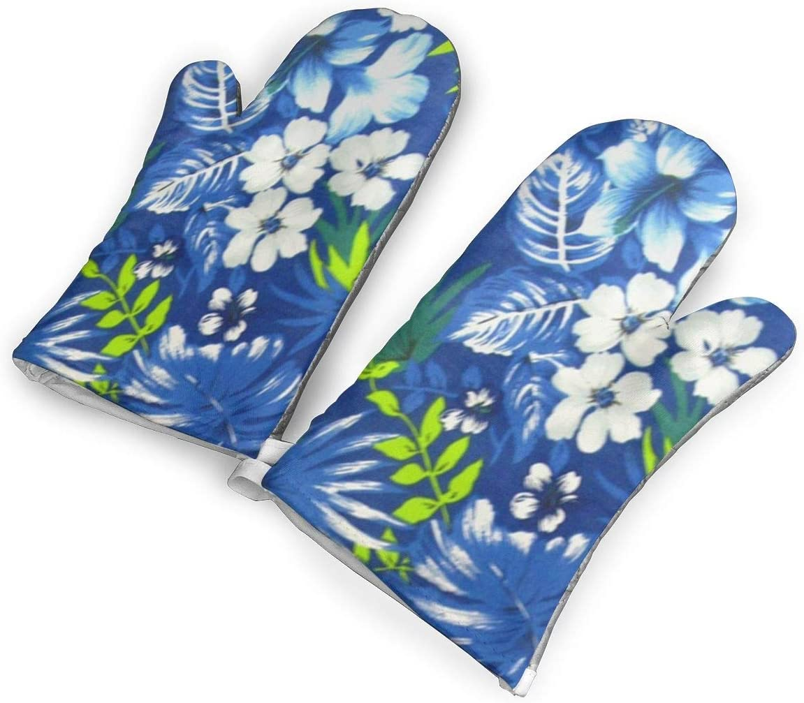 Fechahao Hawaiian Royal Blue Oven Mitts, with The Heat Resistance of Silicone and Flexibility of Cotton, Recycled Cotton Infill, Terrycloth Lining,