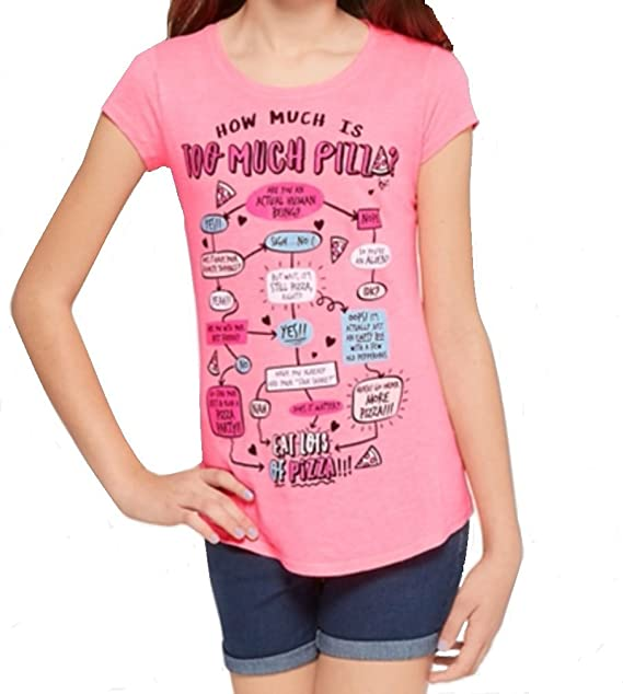 6f8b2e725 Image Unavailable. Image not available for. Color: Justice Girl's Pizza  Flowchart Graphic Tee