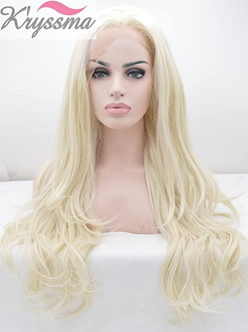 Amazon.com : Kryssma Fashion Platinum Blonde Synthetic Lace Front Wigs For White Women #60 Long Natural Wavy Half Hand Tied Gluelss Synthetic Replacement ...