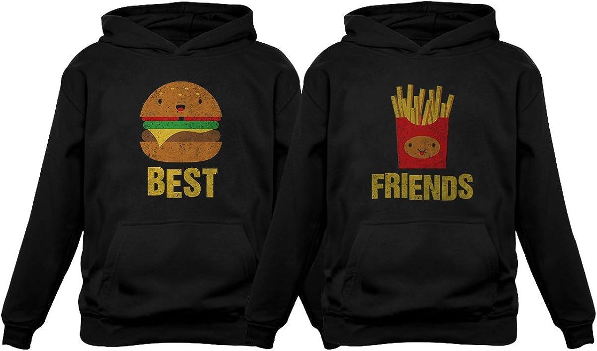 Best Friends Set BFF Hoodies Set Burger & Fries Junk-food Matching Couple Hoodie