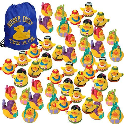 Summer Luau Rubber Ducks (48 Duckies + 1 Drawstring Bag) - Beach Pool Party Favors - 24 Hula Dancers + 24 Mermaids Rubber Duckies