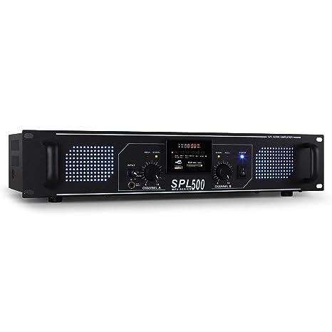 Skytec SPL-500 Amplificador PA (2 x 250W potencia, USB, SD,