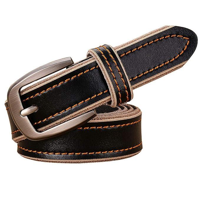 kaoling Cinturones cuero genuino casuales para mujeres 2.8CM Ancho Vintage  correa costura Mujer segunda capa piel vaca para pantalones vaqueros rojos   ... 2ecdbf34f68f