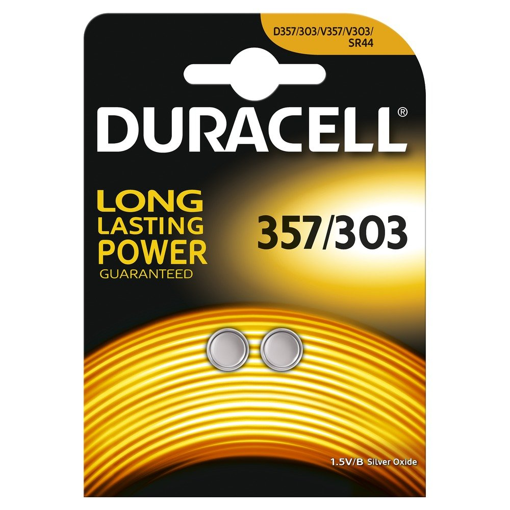 Pack of 2 Duracell 357 / 303 1.5V Silver Oxide Watch Battery D357H D357/303 V303 SR44