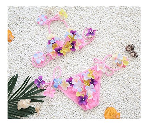 Fusicase Super Beautiful 3D Handmade Flower Luxury Pearls Decoration Adjustable Swimwear Bikini Baby Girls