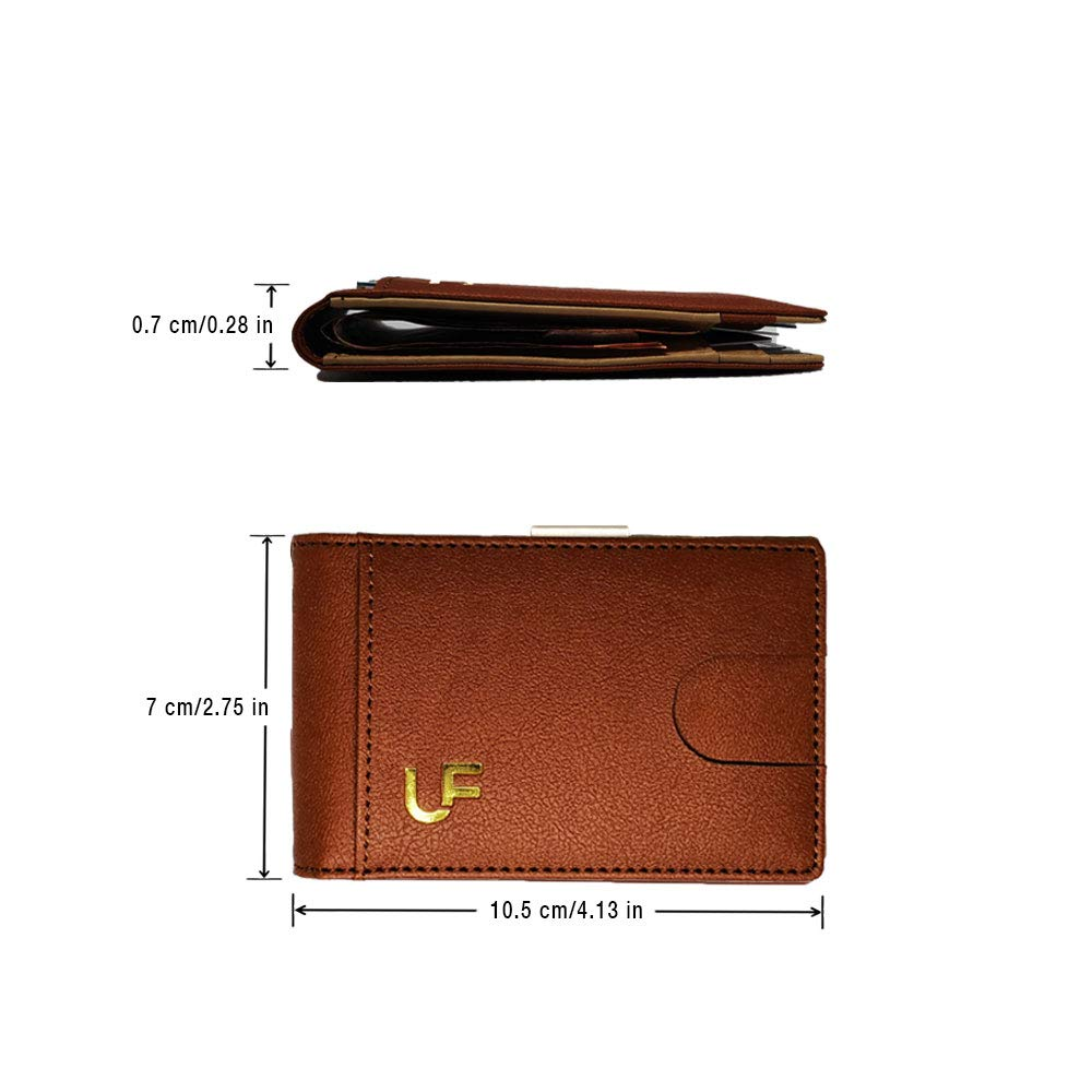RFID BLOCKING WALLET by Ultima Forma | Minimalist & slim bifold wallet with integrated money clip | Holds multiple credit & debit cards | Premium credit card protector
