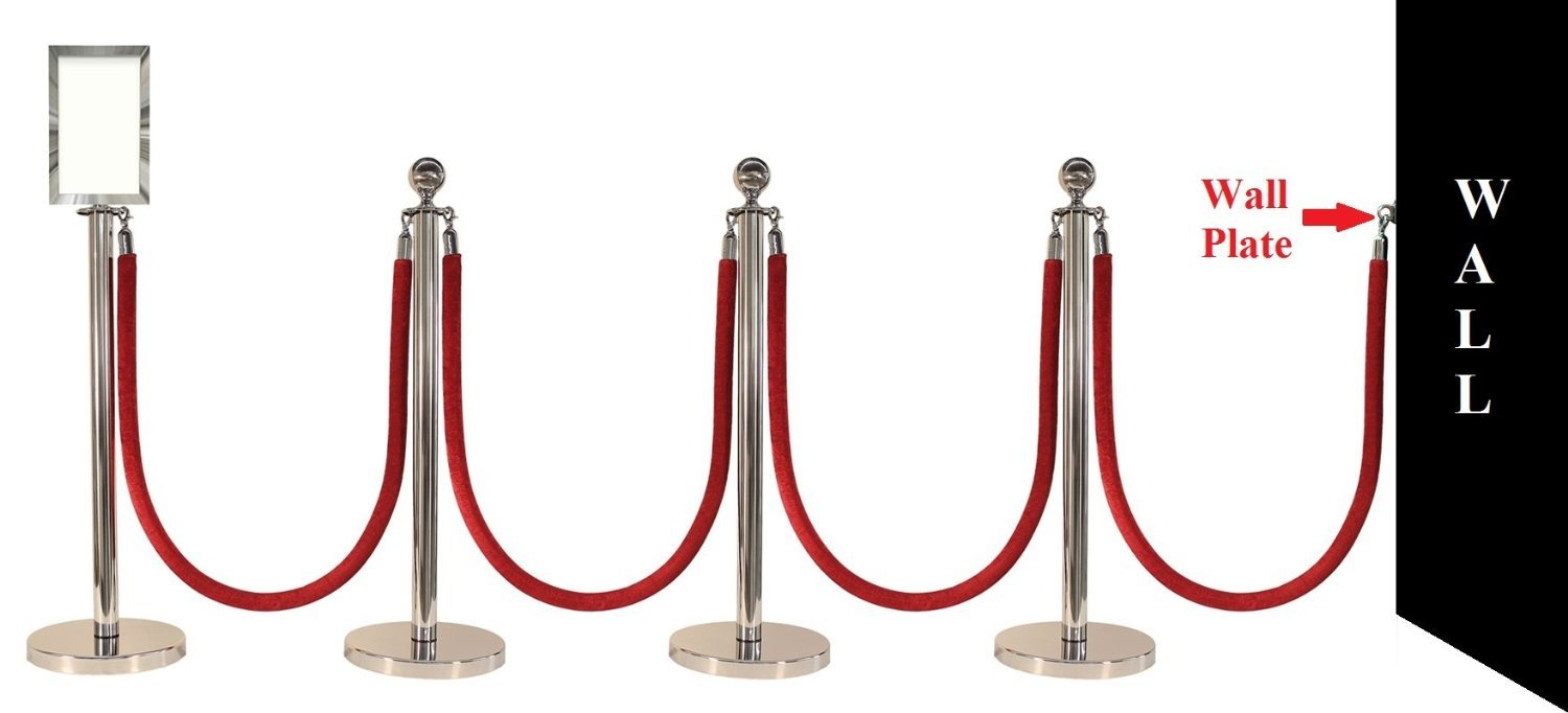 """Apex Luxury Series Crown Top Chrome Stainless Steel Stanchion Post 4 Pcs With 72"""" Black Braided Rope 4 Pcs, 11"""" x 17"""" Premium Sign Frame and Wall Plate"""