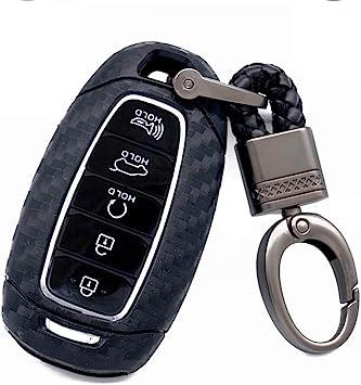 3 4 5 buttons soft tpu carbon fiber silicone smart remote Key Fob case Cover shell For Hyundai i30 Azera ix35 Elantra Accent Santa Fe IG Grandeur,2017-2020 Hyundai Palisade black Royalfox TM