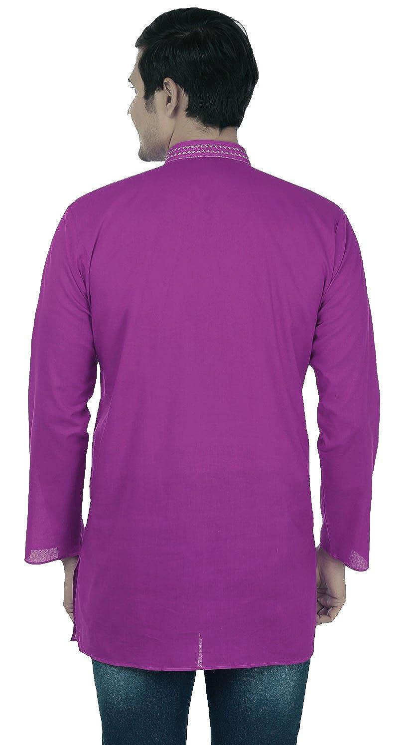MapleClothing Arce Ropa Algodón para Hombre Corto Kurta Camiseta Bordado Indio Vestido - Púrpura -: Amazon.es: Ropa y accesorios