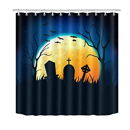 LB Spooky Moon Night In Graveyard Artistic Shower Curtain Vintage Halloween Horror Bathroom Decorations