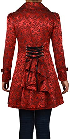 291eec023a -Foggy Night in Paris- Red Victorian Gothic Corset Ruffle Jacquard Vintage  Style Jacket (