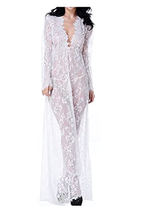 f48f59cb865c Kasiria Lace Dress,Women Maternity Sexy Deep V-Neck Long Sleeve Lace See  Through