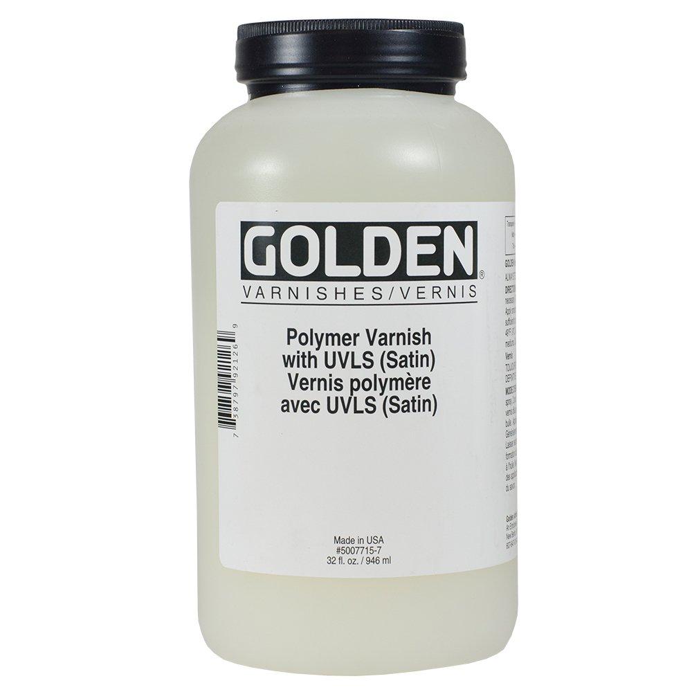 Golden Polymer Satin Varnish with UVLS - 32 oz Bottle Golden Artist Colors®