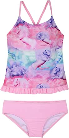Hilor Girl's Two Piece Swimsuits Ruffle Hem Tankini Set Cross Back Bikini Swimwear Set
