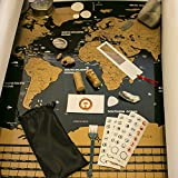 The Trip Dreamer - Scratch Off World Map Poster - Metallic Gold Look - Every Country Detailed and Flags on Black Background. Scratching Tool and Pen. 50 Clear U.S. States - A Living Traveler Journal