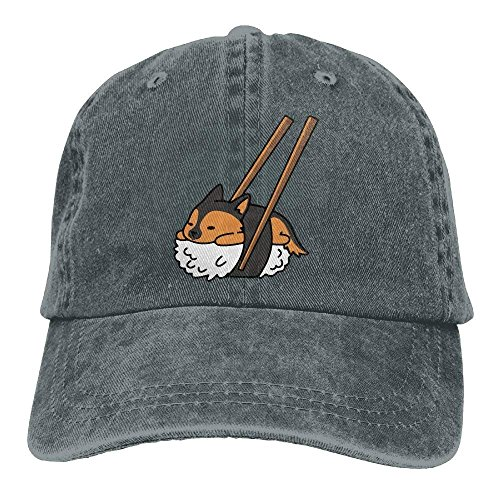 - Unisex Sushi German Shepherd Vintage Denim Baseball Cap Adjustable Plain Cap