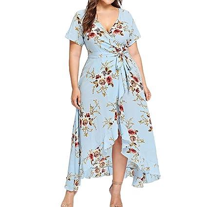 Women Chiffon A Line Floral V Neck High Waist Slim 2XL Belt Maxi Prom Midi Dress