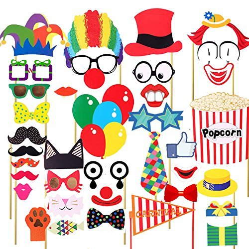 EBTOYS Carnival Photo Booth Props Circus Photo Booth 30 DIY Kits on a Stick,Costumes with Clown Hats, Moustache, Eyeglasses, Red Noses, Tie, Colorful Balloons, Popcorn and