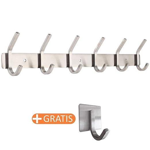 smartpeas Perchero de Acero Inoxidable Medidas 43x8x3.8 cm - aguanta hasta 30 kg - 6 Ganchos fijos + 1 Ganchos autoadhesivos Gratis - Apariencia ...