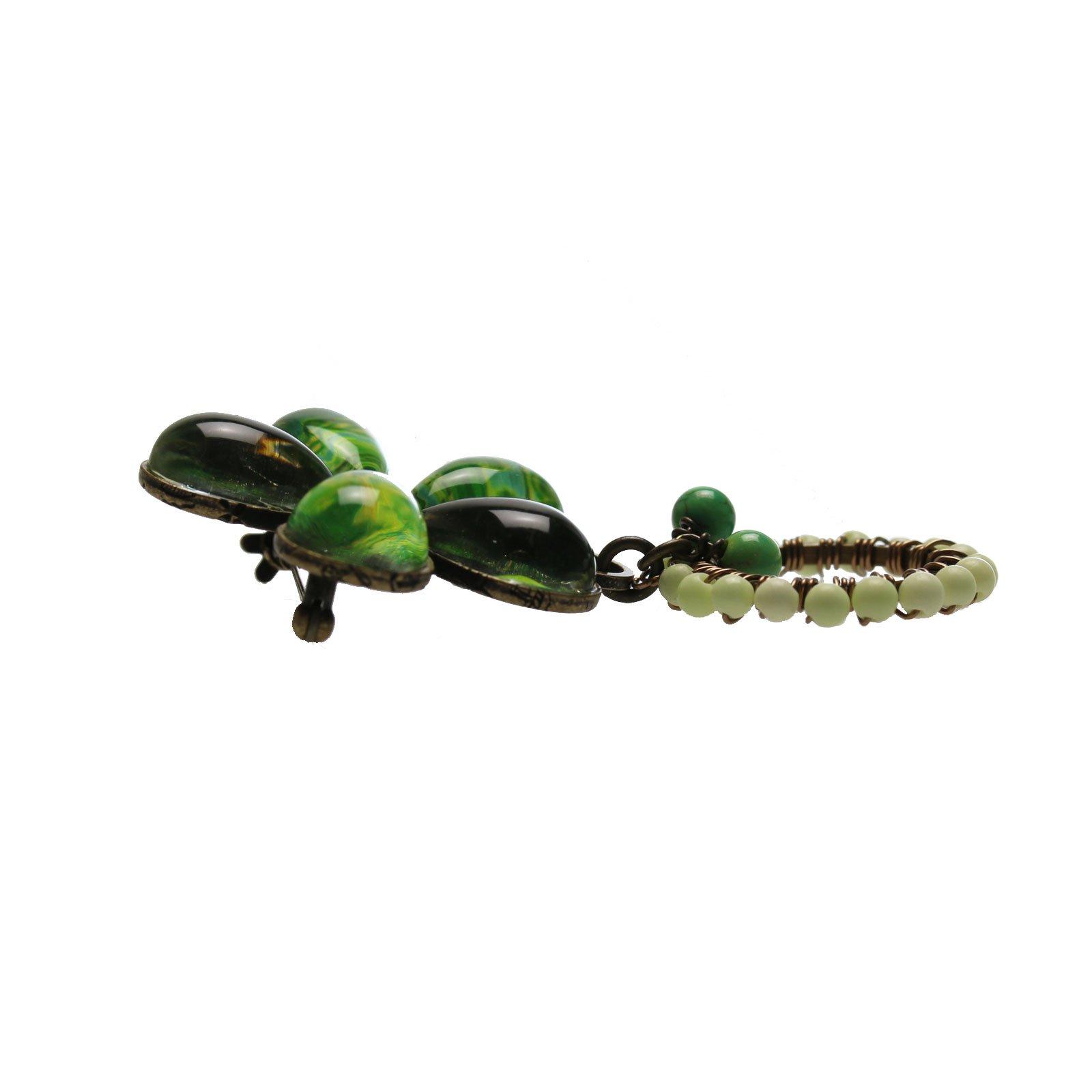 Tamarusan Eyeglass Holder Brooch Flower Lily Green Lemon Chrysoprease Turquoise by TAMARUSAN (Image #2)