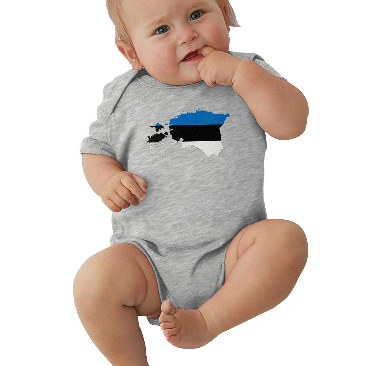 JJKKFG-H Flag Map of Estonia Printed Summer Baby Infant Girls /& Oys Short Sleeve Playsuit Outfit Clothes Shirt