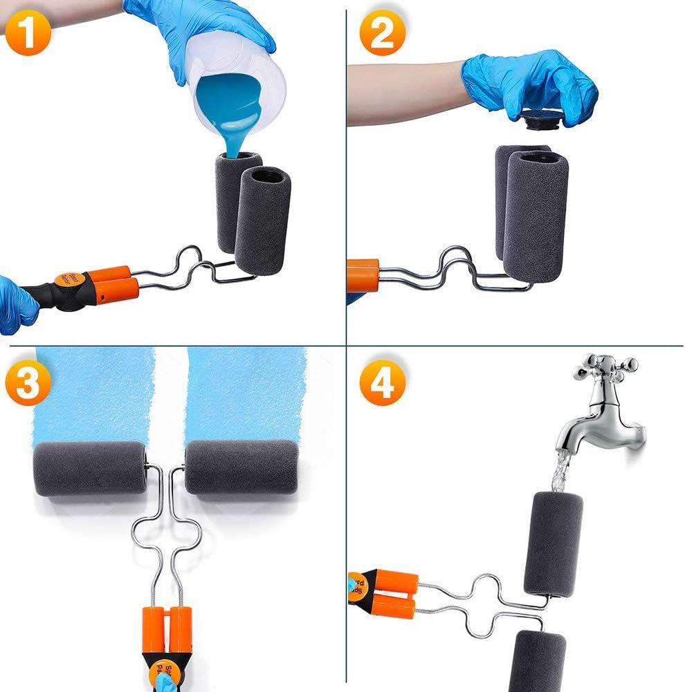 Queta Rullo per Pittura PRO Kit includere Guanti al Nitrile Doppio Cilindro Pennello Rullo con Serbatoio Professionale antigoccia per casa e Giardino