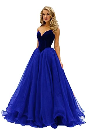 Snowviews Sweetheart Corset Sweetheart Velvet Prom Dress Long Evening Gown Blue 2