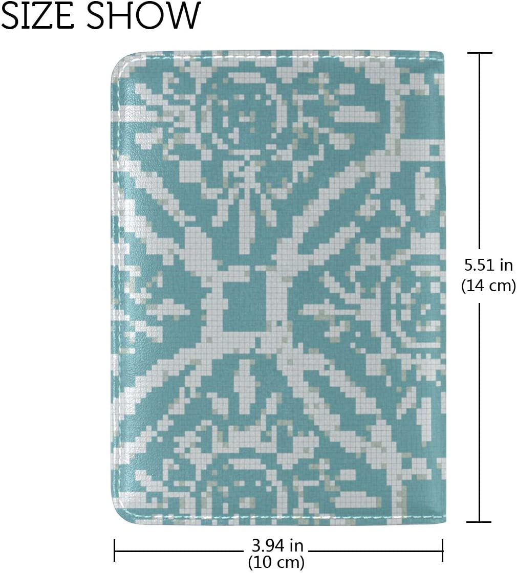 LEISISI Ocean Waves Mosaic Patterns Genuine Real Leather Passport Holder Cover Travel Case