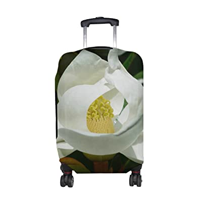 Plants Flower Magnolia Pattern Print Travel Luggage Protector Baggage Suitcase Cover Fits 18-21 Inch Luggage