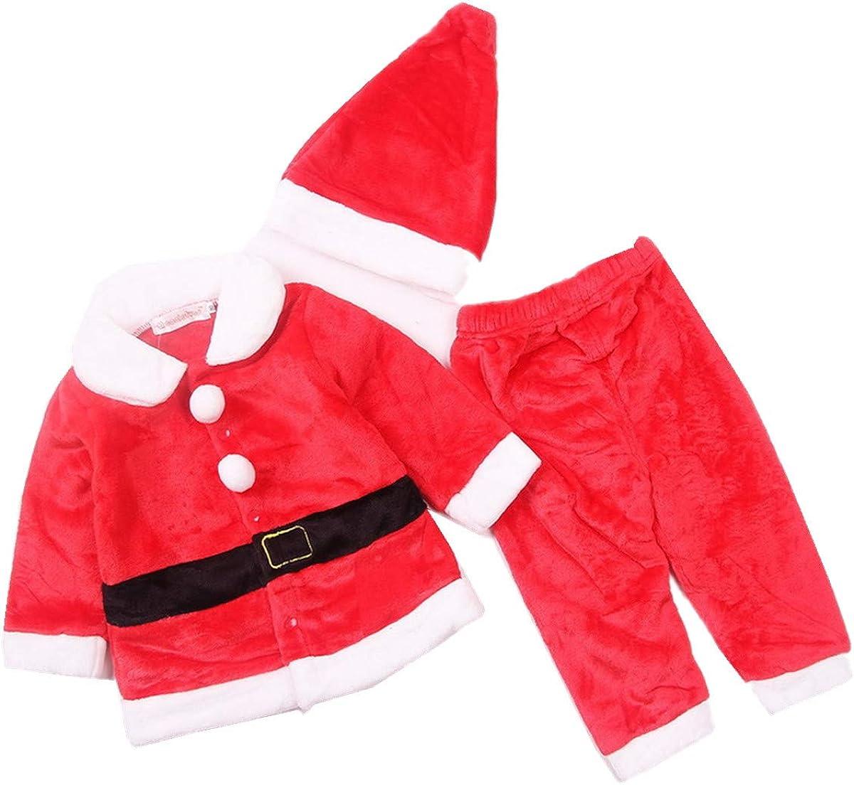 Lee Little Angel Navidad Franela Manga Larga Hermoso bebé niños Dress up Santa Traje de 3 Piezas Conjunto (1 Sombrero, 1 Chaqueta, 1 par de Pantalones)