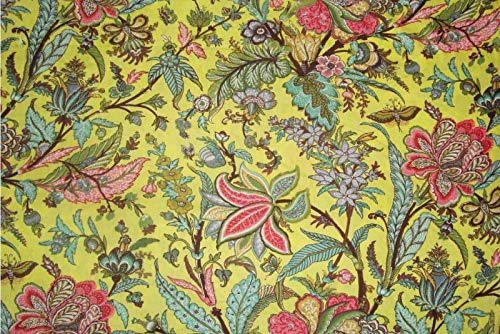 5 Yard Traditional Ikat Screen Print Fabric Dressmaking 100% Cotton Material Indian Sewing Running Fabric by Yard