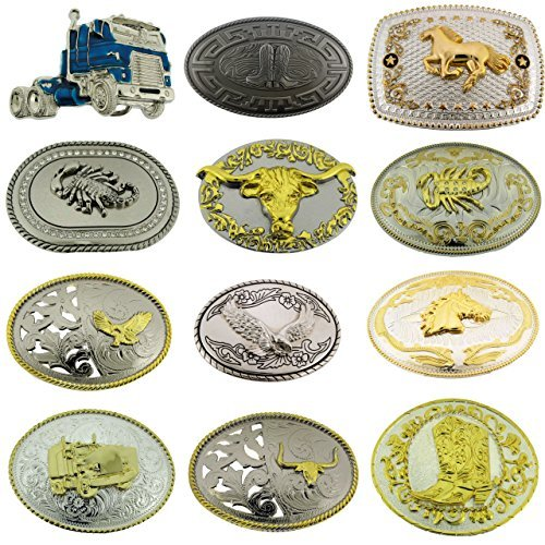 12 Pieces Wholesale Lot Belt Buckle Bull Eagle Horse Horseshoe Truck Cowboy Boot from Generic/buckleszone