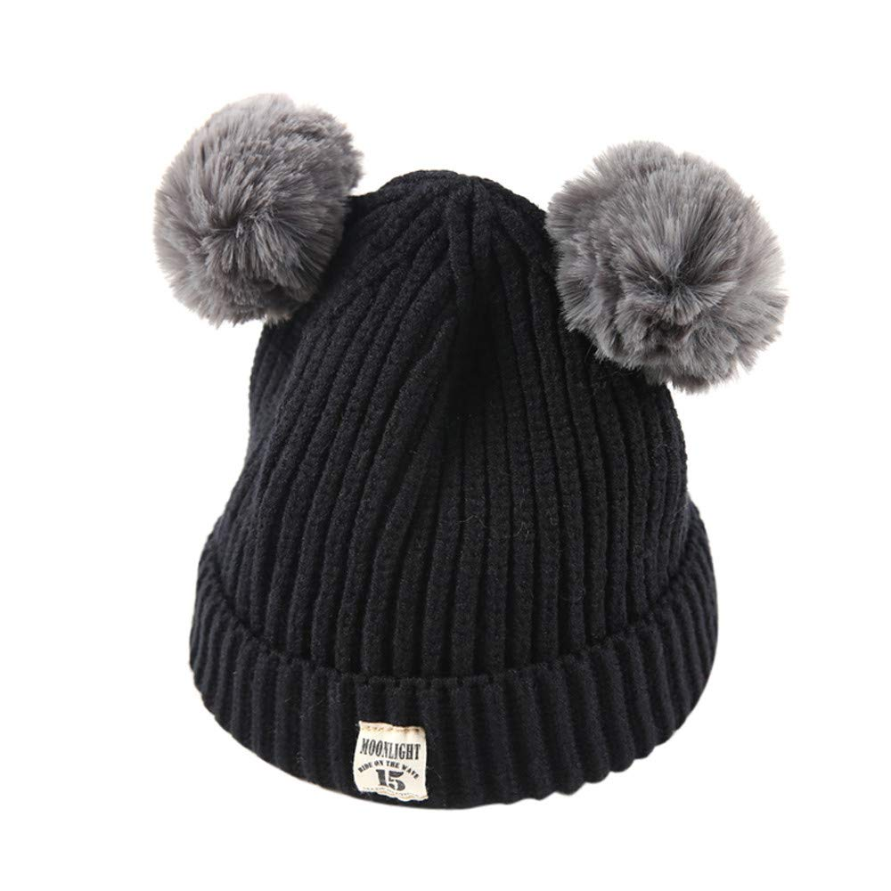 Xshuai Baby Hat for 2-8 Years Old Kids Fashion Newborn Infant Toddler Cute Winter Warmer Ball Cap Baby Girl Boy Letter Hats Knitted Wool Hemming Hat (Black)