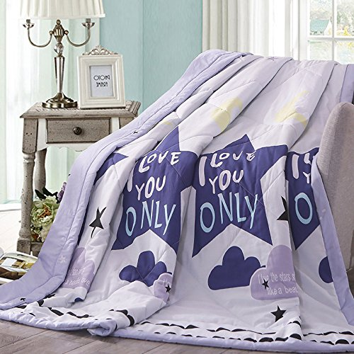 "KFZ Cotton Quilt Comforter Bedspread for Bed Breathable XR Three sizes Summer Star Magic Gift Starry Sky Summer Star Design For Children Adult One Piece (Summer Star,Purple, Queen, 78""x91"") for cheap"