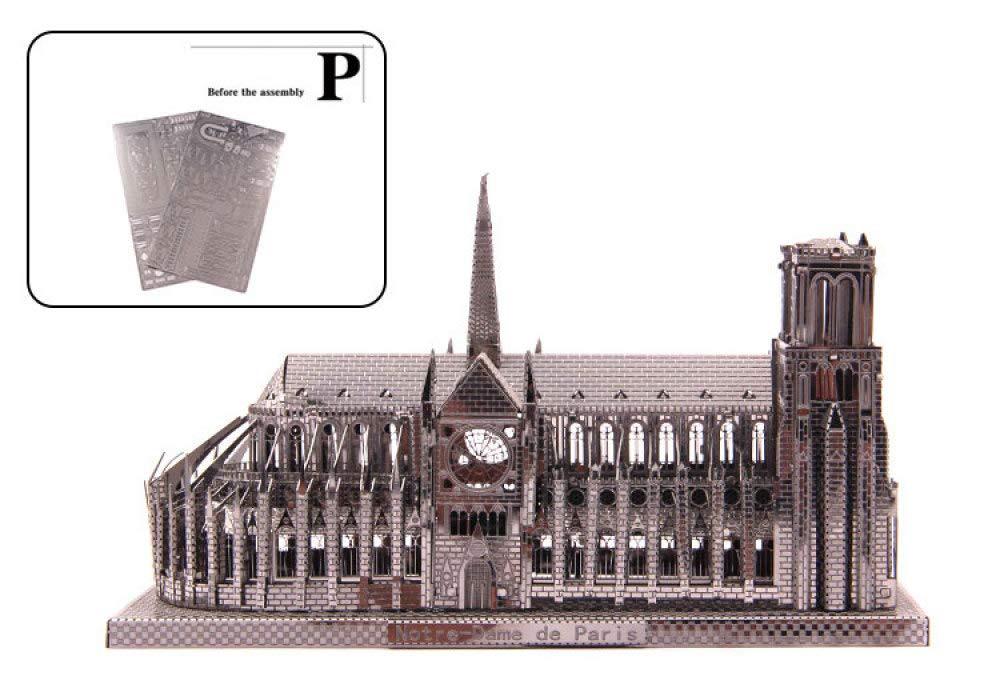 KFRSQ Notre Dame della Costruzione 3D 3D Manuale di Puzzle del Modello del Metallo dell'Assemblea Adulti Fai da Te