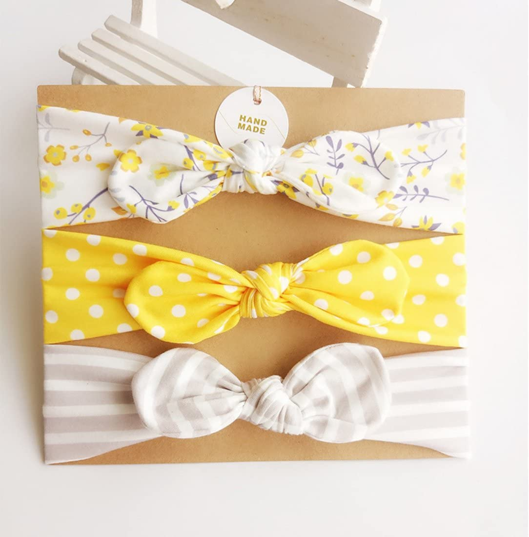 Pack of 3/Hocaies Boutique Quality Girls Hair Bows Hair bands Elastic Headbands Baby Gift//Christening Gift Set