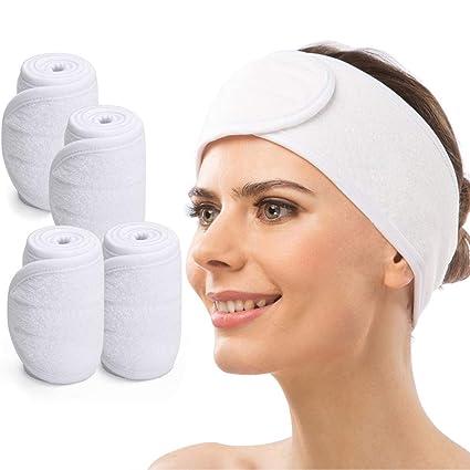 Pelo Banda para Maquillaje, CNNIK 4PCS Diadema de Spa Cosméticos Bañarse Yoga, Banda Elástica Ajustable con Velcro, Diadema Facial para Lavado Facial ...
