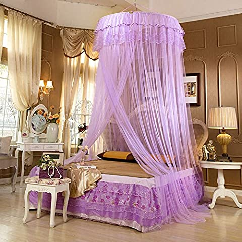 Lucy Fashion Princess Bed Canopy Mosquito Net Netting NEW Bedroom Mesh Curtains (Purple) - Bailey Bedding Canopy Top