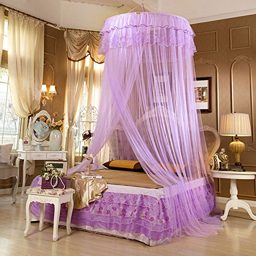Price comparison product image Lucy Fashion Princess Bed Canopy Mosquito Net Netting NEW Bedroom Mesh Curtains (Purple)