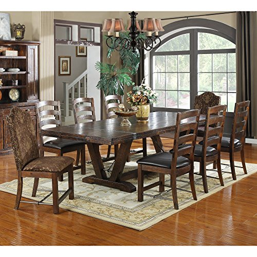 dining room table for 8 luxury emerald home castlegate extra long trestle dining table with 16 in end leaves seat table amazoncom