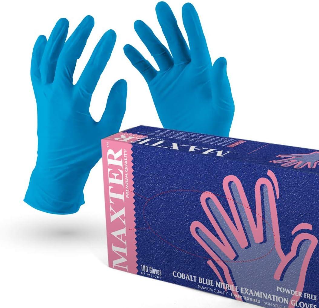 VENSALUD - Guantes de NITRILO Desechables. Sin Polvo. Caja de 100 Guantes. Color: Azul Cobalto (M)