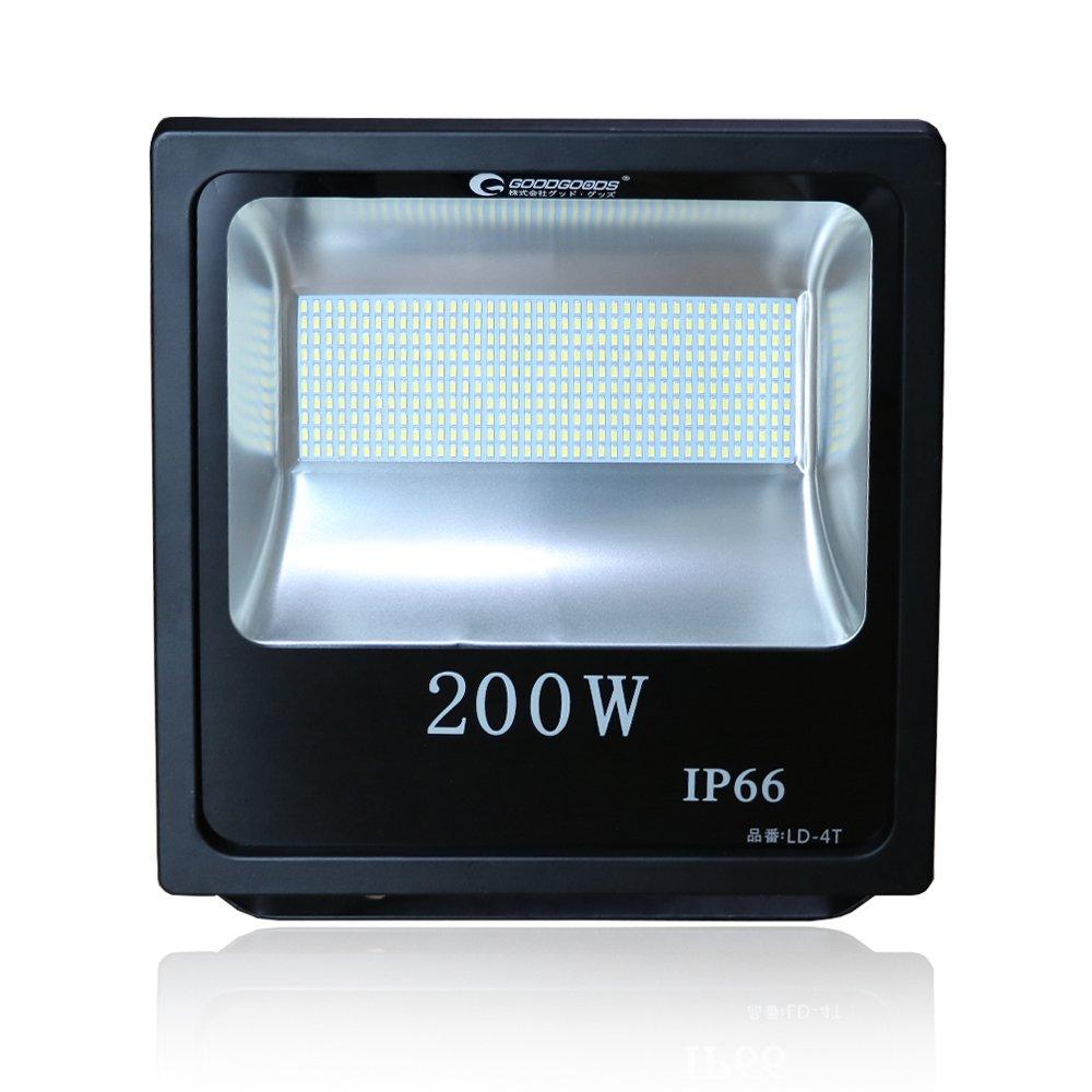 GOODGOODS LED 看板灯 200W 2000W相当 28000LM 薄型 投光器 昼光色 広角 防水 屋外照明 LEDライト 家庭電源でOK 【一年保証】 LD-4T B01MSYXKFO 21384