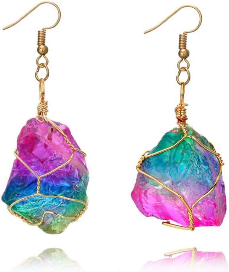 Yunhigh Arco Iris de fluorita cuelga el Pendiente con Alambre Wraped Irregular Piedra Preciosa de Cuarzo cristalino curación Piedra Natural único Pendiente de Gota