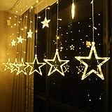 2.5M LED String Lights Fairy Five Pointed Star Shape Curtain Lights Ramadan Gift,Warm White, 220V