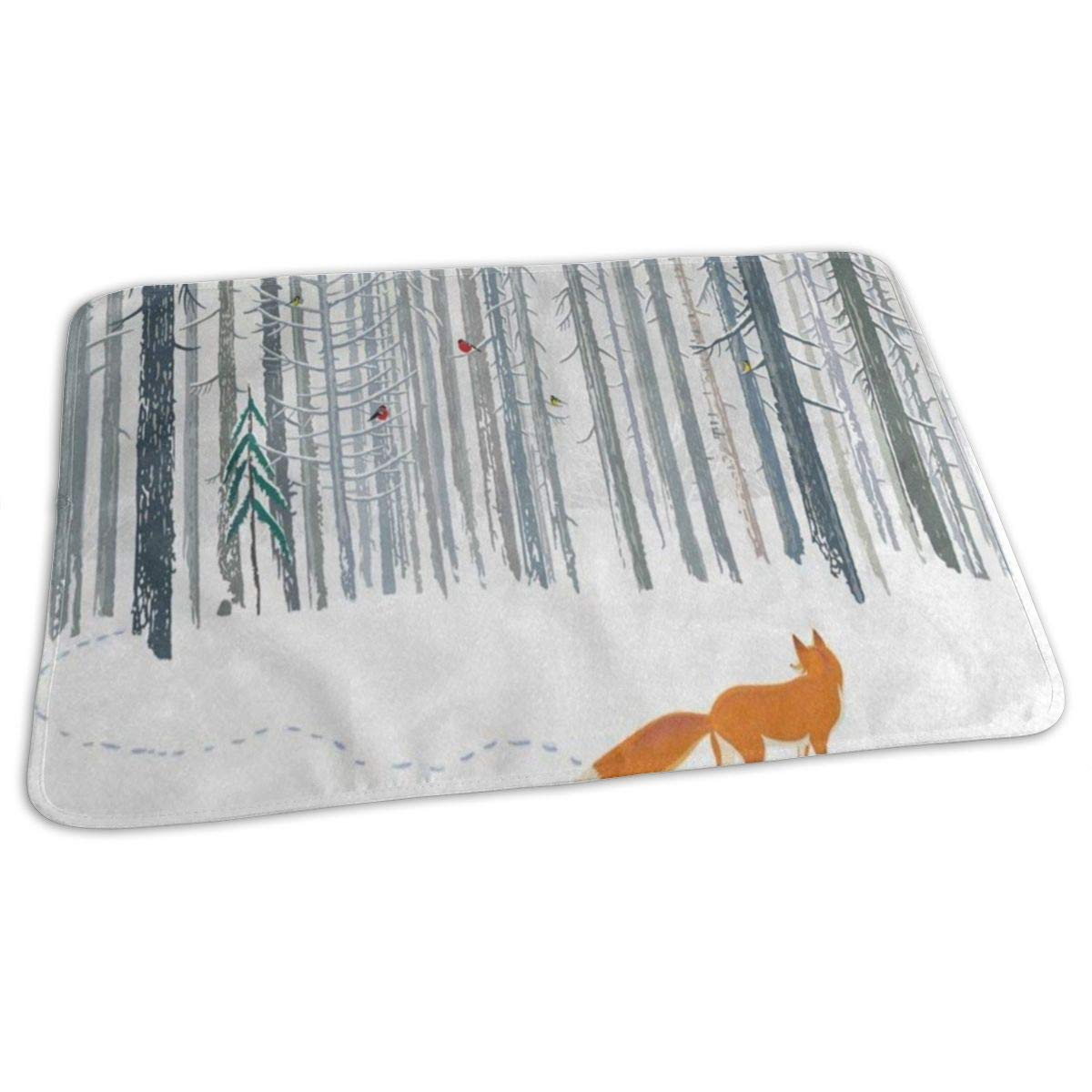 Changing Pad Winter Forest Animal Fox Owl Rabbit Baby Diaper Incontinence Pad Mat Unique Kids Waterproof Sheet Sheet For Any Places For Home Travel Bed Play Stroller Crib Car