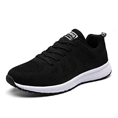 e8d4210294d12 WXDZ Womens Walking Sneakers Sports Tennis Shoes Breathable Athletic  Running Shoes Black