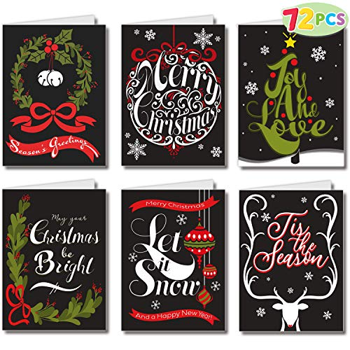 72 Piece Holiday Christmas Greeting Cards with 6 Artistic Greeting Designs & Envelopes 6.25