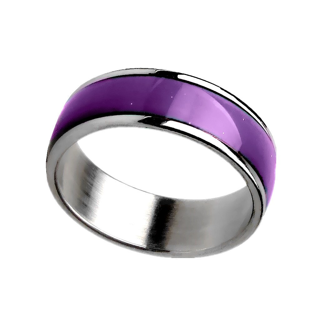 Acchen Mood Rings Titanium Steel Changing Color Emotional Feeling Endless Rainbow with Box