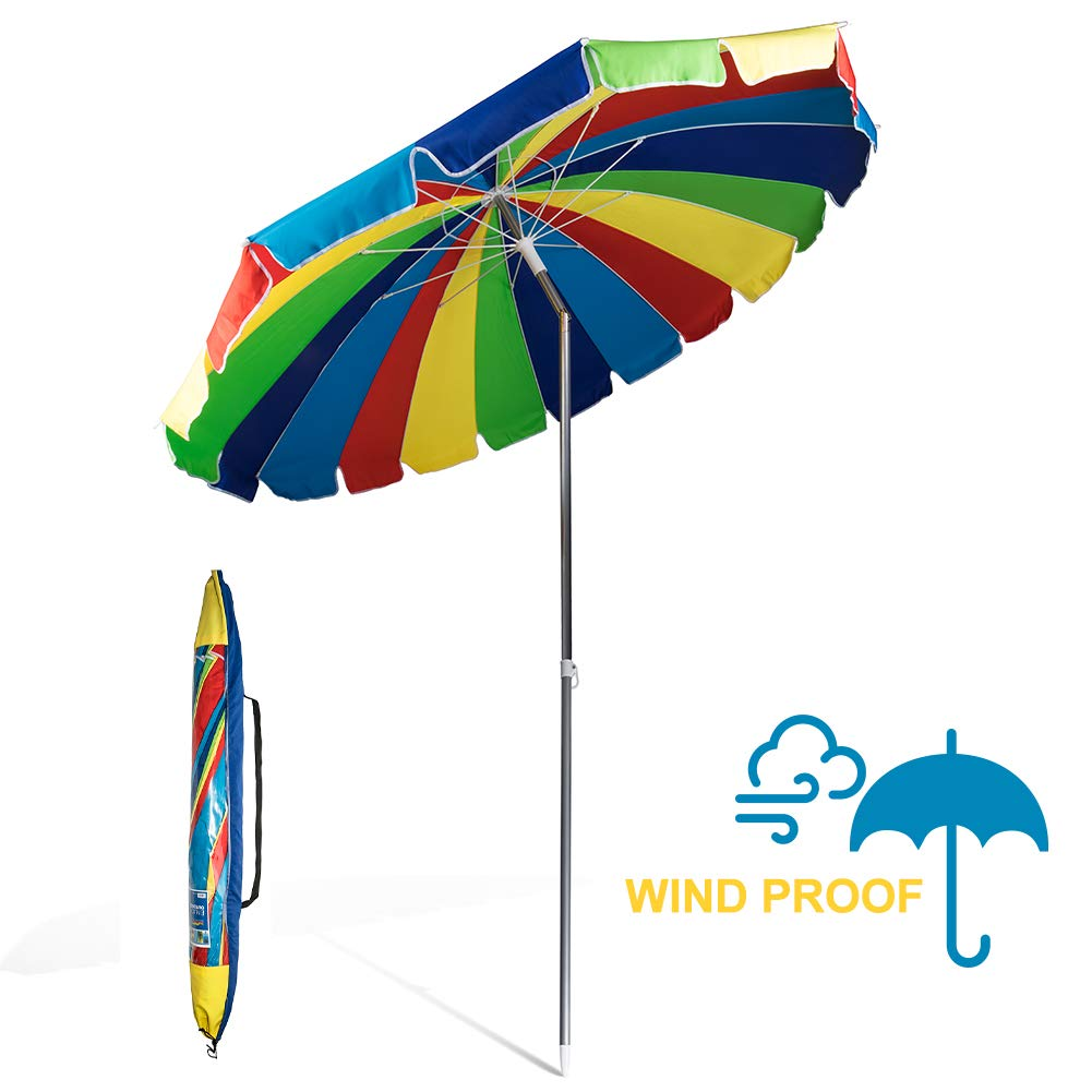 690GRAND Giant Heavy Duty 8FT Rainbow Beach Umbrella with Crank Tilt and Carry Bag 20 Panels Sturdy Polyester Canopy for Patio Camping UPF50