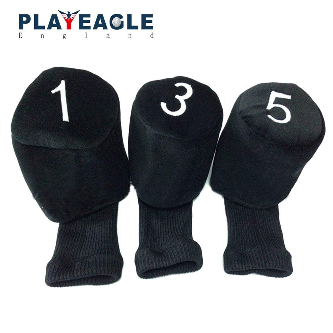 PLAYEAGLE 3pcs/set Knitted Pom Pom Sock Golf Wooden Headcover 1 3 5 Head Covers for Golf Dirver/Fairway Golf Club Headcovers Accessories
